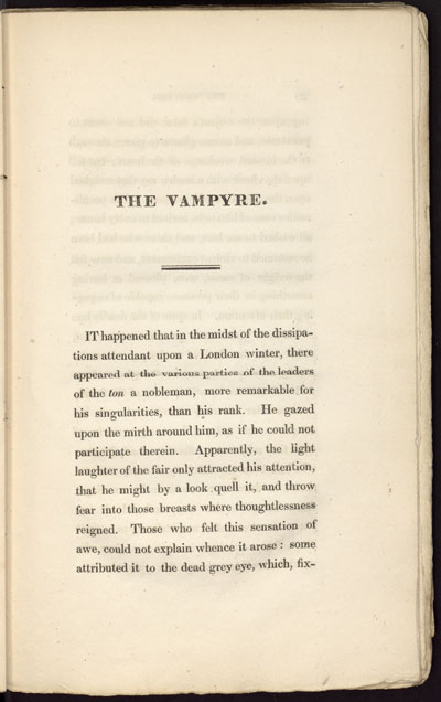 "Page from first edition of ""The Vampyre"" by John William Polidori."