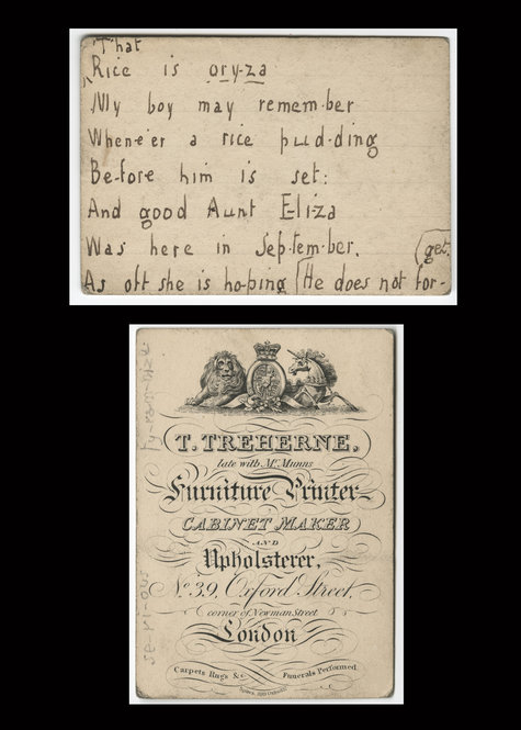 "Undated children's verse cards from Sara Coleridge collection. These verses—on such topics as English history, Latin vocabulary, and animals—formed the foundation for Coleridge's ""Pretty Lessons in Verse for Good Children and Lessons in Latin, in Easy Rhyme,"" published in 1834."