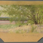 """Under Mesquites"" by Frank Reaugh (1860-1945), showing an inscription in the margin. Photo by Pete Smith."
