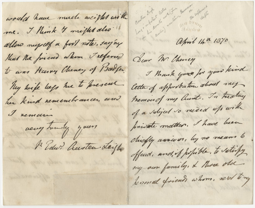 Letter by James Edward Austen-Leigh (1788-1874) to Mr. Cheney, dated April 14, 1870.
