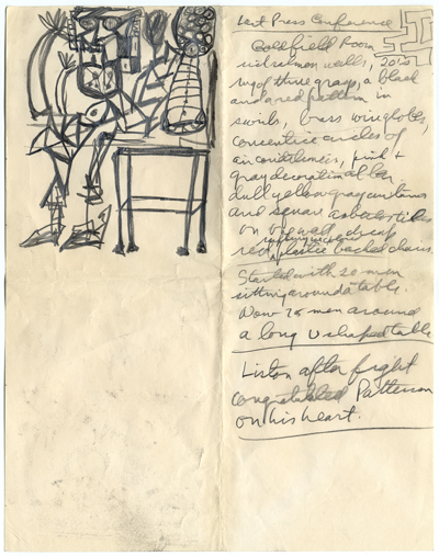 Norman Mailer's notes for the Liston-Patterson re-match in Las Vegas on July 22, 1963. © Norman Mailer Estate.