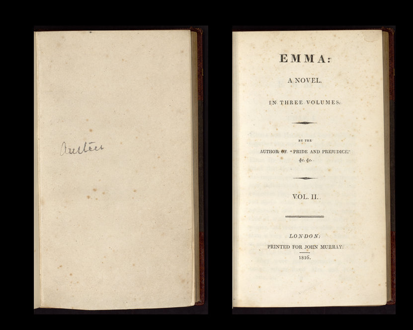 "The Ransom Center holds a family copy of ""Emma,"" formerly owned by Cassandra Austen. The book is inscribed by descendant Emma Austen-Leigh."