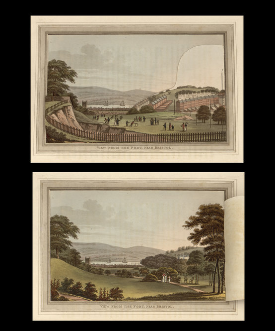 "Humphry Repton' ""Observations on the Theory and Practice of Landscape Gardening,"" Including Some Remarks on Grecian and Gothic Architecture. London: Printed by T. Bensley for J. Taylor, 1803. The hand-colored illustrations have unique folding flaps that show the ""before"" and ""after"" views of the changes that landscaper Repton wrought at great estates and at great expense."