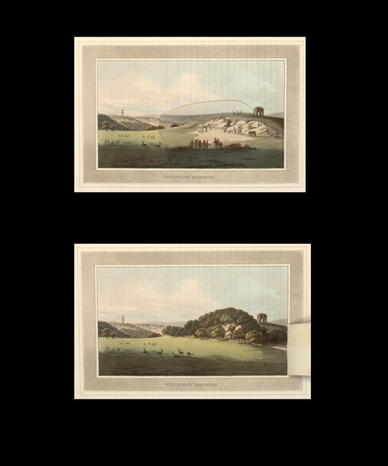"Humphry Repton's ""Observations on the Theory and Practice of Landscape Gardening,"" Including Some Remarks on Grecian and Gothic Architecture. London: Printed by T. Bensley for J. Taylor, 1803. The hand-colored illustrations have unique folding flaps that show the ""before"" and ""after'"" views of the changes that landscaper Repton wrought at great estates and at great expense."