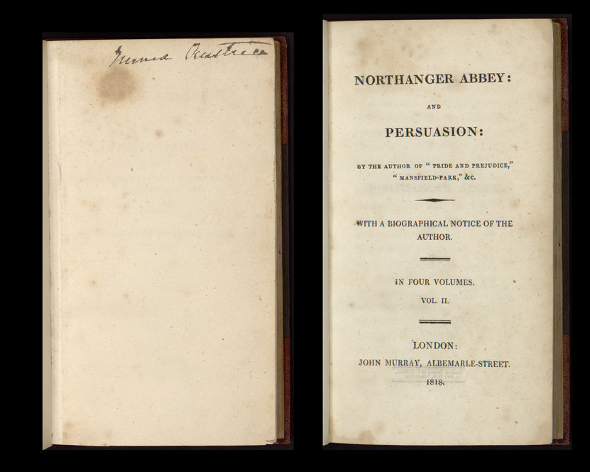 "A family copy of ""Northanger Abbey and Persuasion"" formerly owned by Cassandra Austen. Volume 2 is inscribed ""Emma Austen"" by descendant Emma Austen-Leigh."