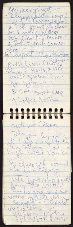 Peter Orlovsky's notebook titled Rolling Thunder, Oct. 29, 1975.