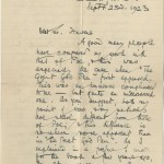 Autograph letter from Arthur Machen to Munsen Havens dated September 23, 1923. Letter from Arthur Machen Reproduced by permission of A.M. Heath & Co Ltd.