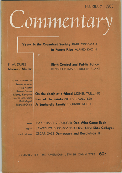 Cover of the February 1960 issue of Commentary magazine.