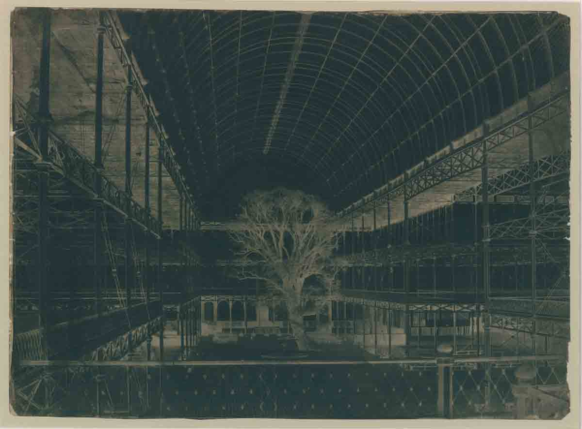 "From the original calotype paper negative of ""Transept of the Crystal Palace,"" Benjamin Brecknell Turner, March 1852."