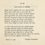 "Vincent Starrett's sonnet ""221B"" in its rare original issue, privately printed by Edwin B. Hill of Ysleta, Texas and distributed at Christmas, 1942—the timing giving added poignancy to the line ""Here, though the world explode, these two survive."""
