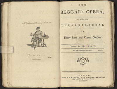 "Title page of ""The Beggar's Opera"" from the anthology ""Comedy As it is Acted at the Theatres-Royal in Drury-Lane and Covent-Garden."""
