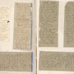 Notes scribbled on the backs of cigarette packs, inserted in the manuscript.