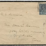 The envelope for a letter from Samuel Clemens to Dora C. Bowen at 2506 Whitis Avenue, where the Jesse H. Jones Communication Center now stands today on The University of Texas at Austin campus.