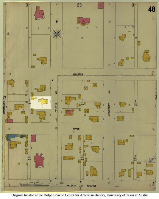A 1900 Sanborn map, used to estimate fire insurance liabilities, depicts Bowen's house and the surrounding neighborhood at the time the letter was written. The highlighted area shows the location of Bowen's house on the map.