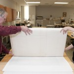 The map is rolled precisely to prevent creases. Photo by Pete Smith.