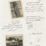 "An assemblage of photos with handwritten captions for ""Machine Dreams."""