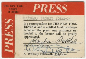"""Barbara Probst Solomon's press pass for """"The New York Review."""""""