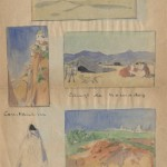 Narrating his trip to Tunisia and Algeria, watercolors replace words for artist J. Hamman in this letter to Valentine Hugo.
