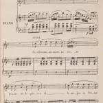 """Score and lyrics for the main theme of the zarzuela """"Historias y cuentos"""", 1879. Note the ownership rights stated in the footnote."""
