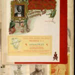 This page in the scrapbook shows a piece of American magician S. S. Baldwin's stationery from his fifth world tour, ca. 1889–1890, embellished with skulls and devils.