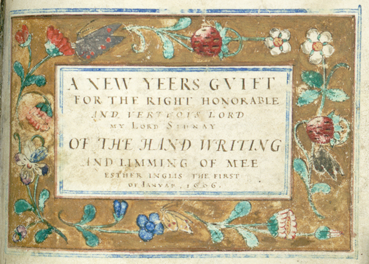 Hand-drawn title page of caligraphy and illustration sample book by Esther Inglis, 1606.