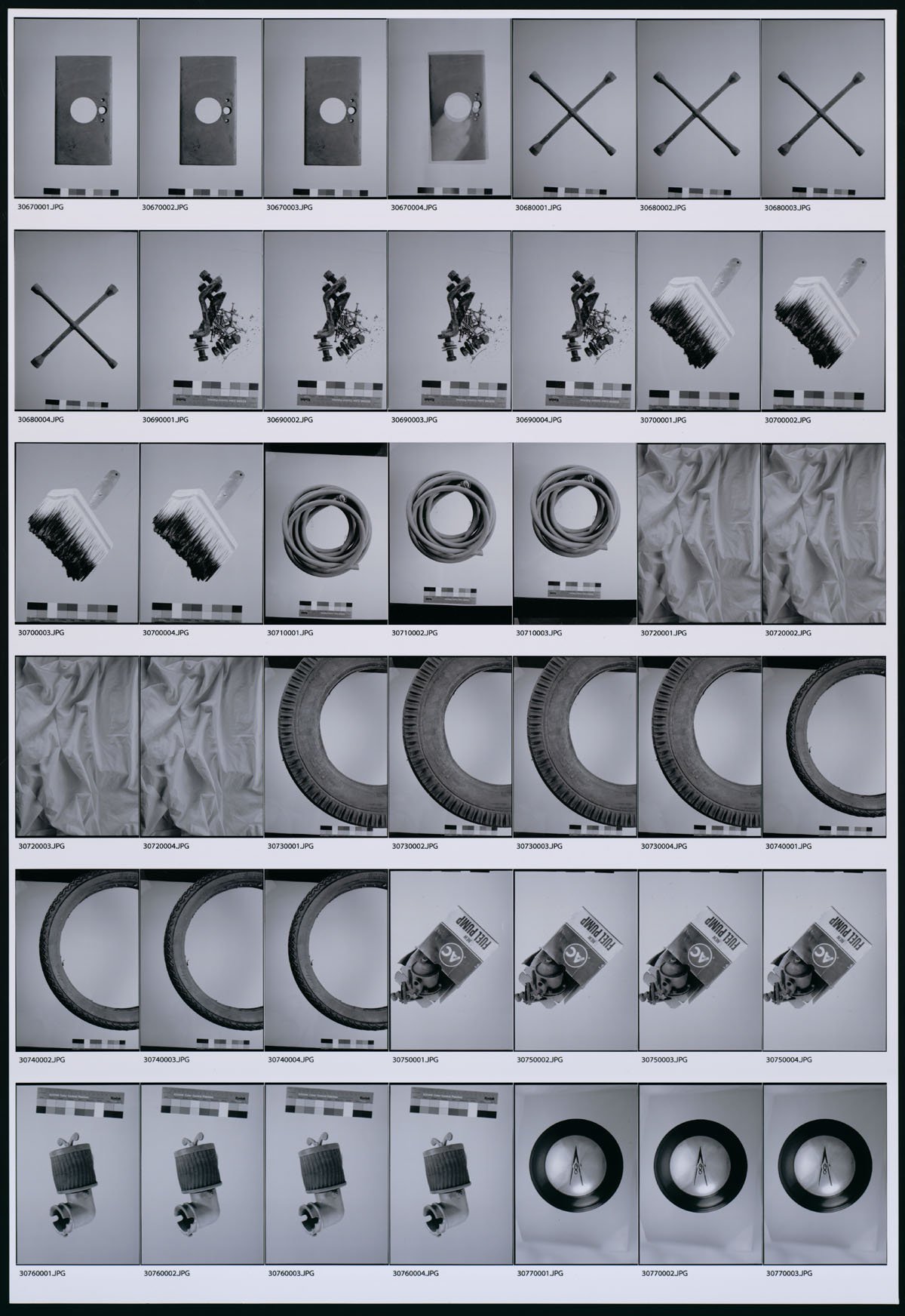 "Contact sheet of images for Ed Ruscha's artist book edition of ""On the Road."""