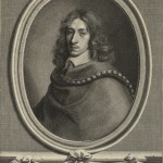 Engraved portrait of a young John Evelyn.