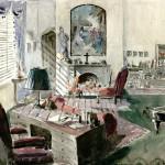 "Alfred Junge's set designs of Mother Dorothea's office for ""Black Narcissus,"" 1946."