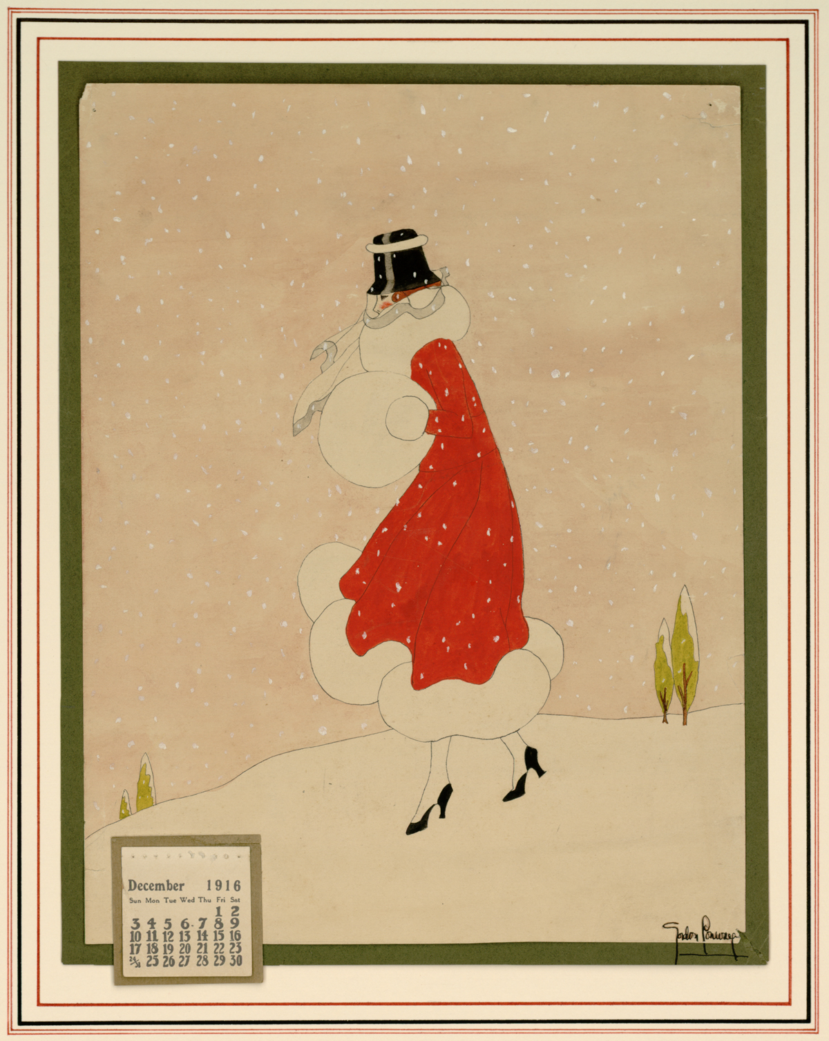 Gordon Conway. December 1916 calendar [woman in red coat during winter].