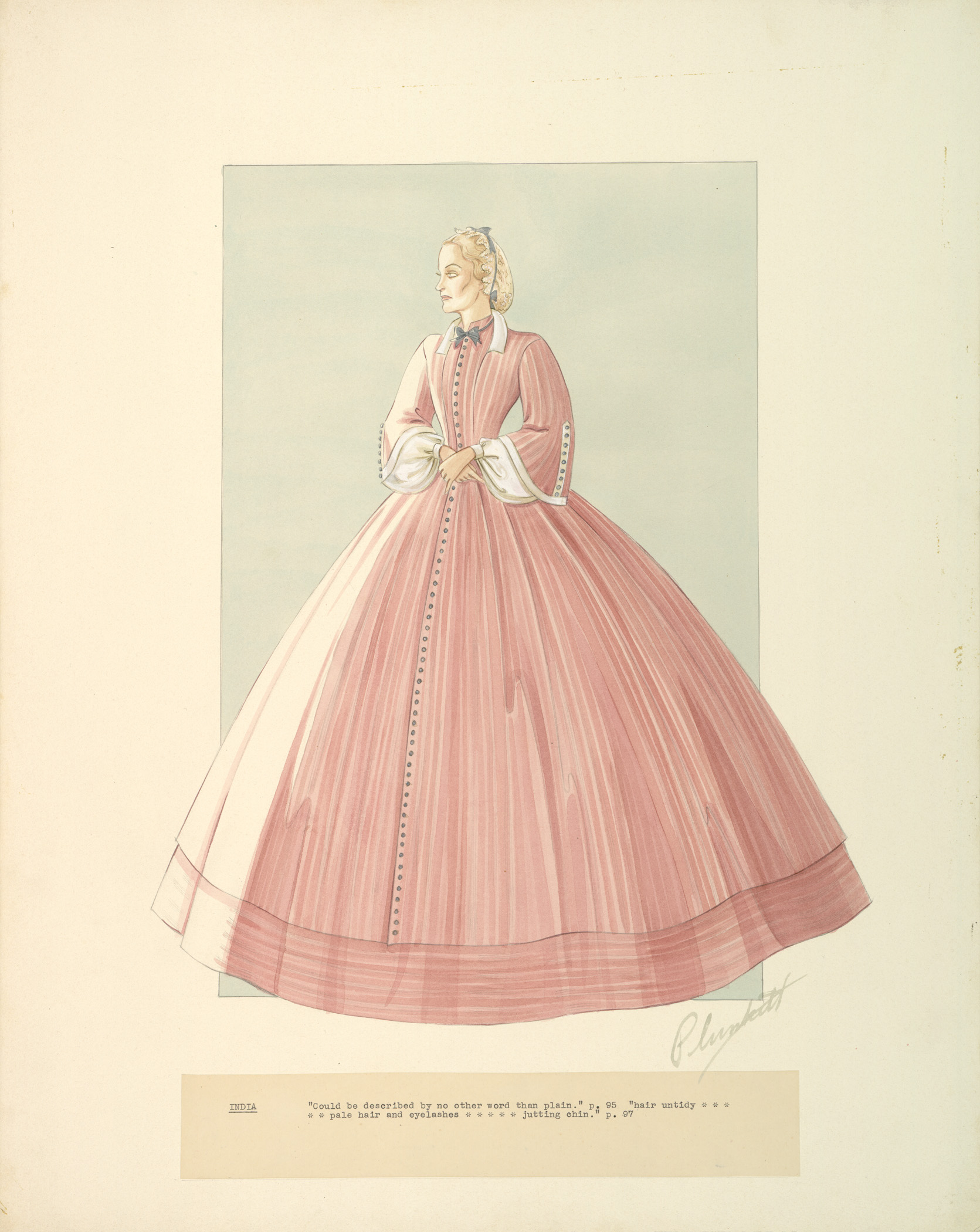 "Walter Plunkett's costume design for the character India Wilkes in ""Gone With The Wind,"" 1939."