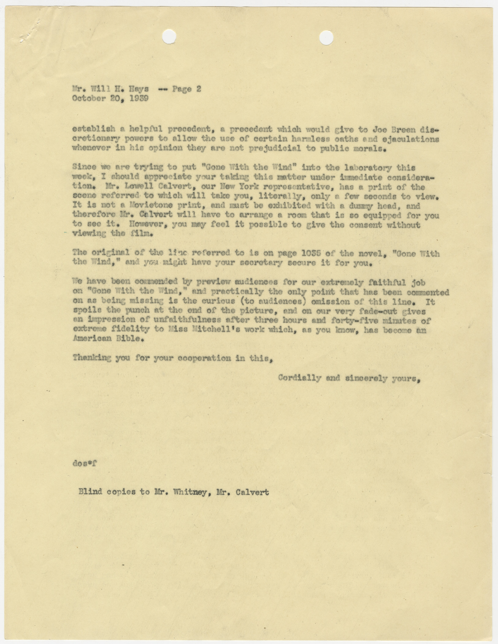 "Memo from David O. Selznick regarding the line ""Frankly, My Dear. . ."" from Gone With The Wind, October 20, 1939."