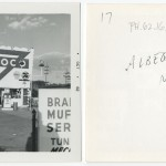 "Front and back of snapshot of gas station in Albuquerque, New Mexico, related to Ed Ruscha's artist's book ""Twentysix Gasoline Stations."""