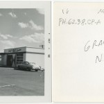 "Front and back of snapshot of gas station in Grants, New Mexico, related to Ed Ruscha's artist's book ""Twentysix Gasoline Stations."""
