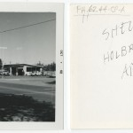 "Front and back of snapshot of gas station in Holbrook, Arizona, related to Ed Ruscha's artist's book ""Twentysix Gasoline Stations."""