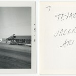 "Front and back of snapshot of gas station in Jackrabbit, Arizona, related to Ed Ruscha's artist's book ""Twentysix Gasoline Stations."""