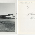"Front and back of snapshot of gas station in Kingman, Arizona, related to Ed Ruscha's artist's book ""Twentysix Gasoline Stations."""