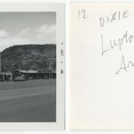 "Front and back of snapshot of gas station in Lupton, Arizona, related to Ed Ruscha's artist's book ""Twentysix Gasoline Stations."""