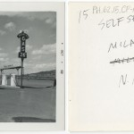 "Front and back of snapshot of gas station in Milam, New Mexico, related to Ed Ruscha's artist's book ""Twentysix Gasoline Stations."""