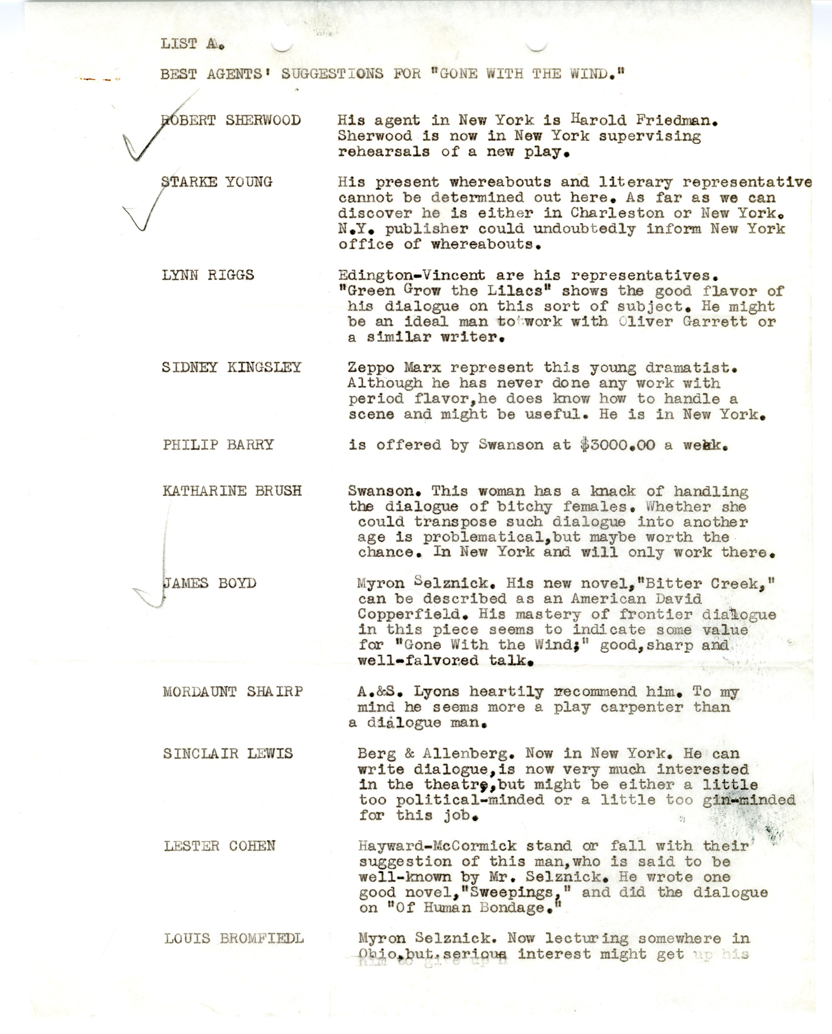 List of suggested writers for Gone With The Wind, ca. 1937.