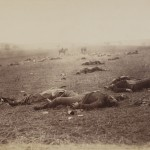 "Timothy O'Sullivan. ""A Harvest of Death,"" July 4, 1863. Albumen silver print."