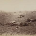 "Timothy O'Sullivan. ""A Harvest of Death,"" July 4, 1863. Albumen silver print."