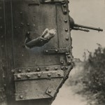 "David McLellan. ""Releasing Carrier Pigeon from Tank, Western Front,"" August 1918. Gelatin silver print."