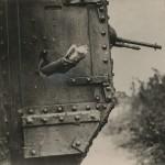 "David McLellan. ""Releasing Carrier Pigeon from Tank, Western Front,"" August 1918. Gelatin silver print."