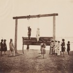 "Felice Beato. ""Gallows on which two of the King of Delhi's sons were hanged for having taken part in the murder of the English resident at Delhi at the commencement of the mutiny, India,"" May 1857. From the album ""Photographic views, Crimea, India &c."" Albumen print."