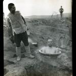 "James (Jimmy) H. Hare. ""Taking a bath at twelve below zero in December along the Sha O River,"" c. 1904–1905. Gelatin silver print."