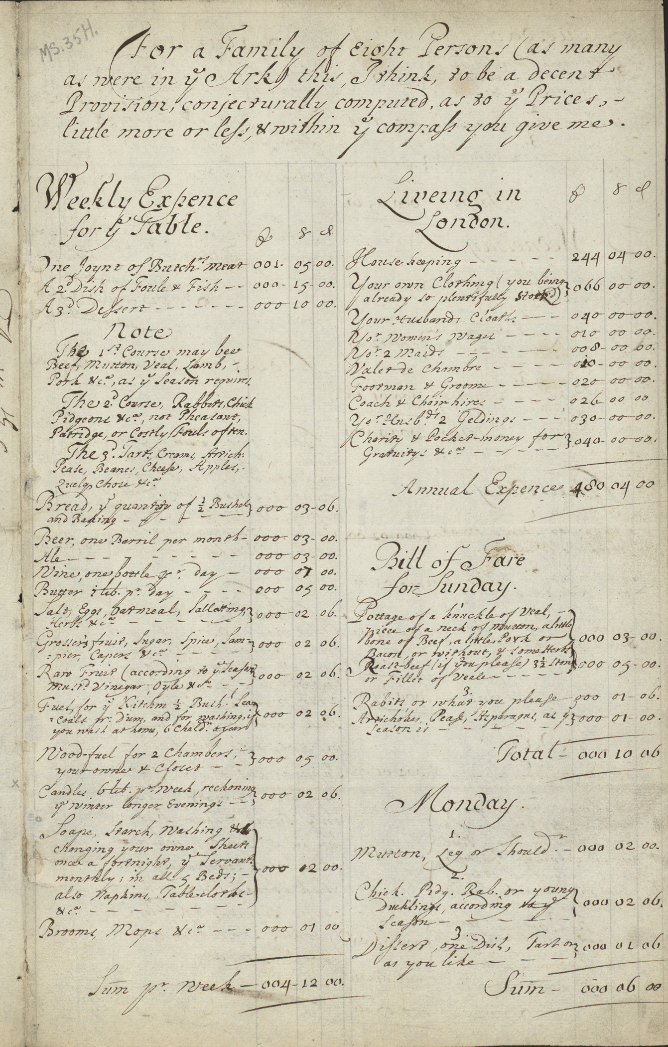 Page from Mary Evelyn's instructions on how to set up a household in London in 1675.