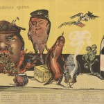 European Cuisine (Second Course). The second poster in the series illustrates the definitive victory of the Russian porridge over the Austrian sausages with the support of the English beefsteak and an American eagle.