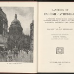 "An illustration by Joseph Pennell and the title page of ""Handbook of English Cathedrals"""