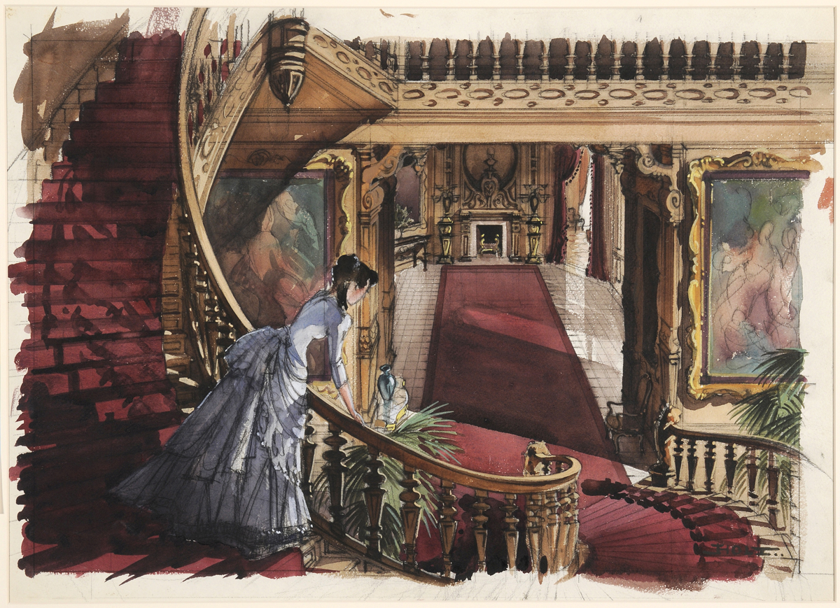 "Dorothea Holt's concept painting of Scarlett at the Butler House in ""Gone With The Wind."""