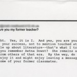 Email exchange between T. C. Boyle and his former high school student Chris Finer from May 2003. (79.1)